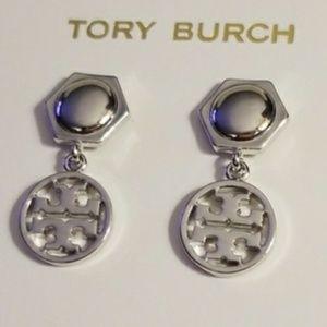 Tory Burch Drop Earrings Silver New
